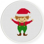 Christmas Elf Cross Stitch Illustration