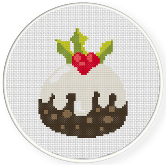 charts club members only christmas pudding cross stitch pattern - Free Christmas Cross Stitch Patterns