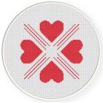 Four Heart Pattern Cross Stitch Illustration