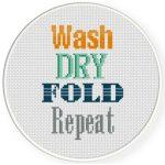 Laundry Motto Cross Stitch Illustration