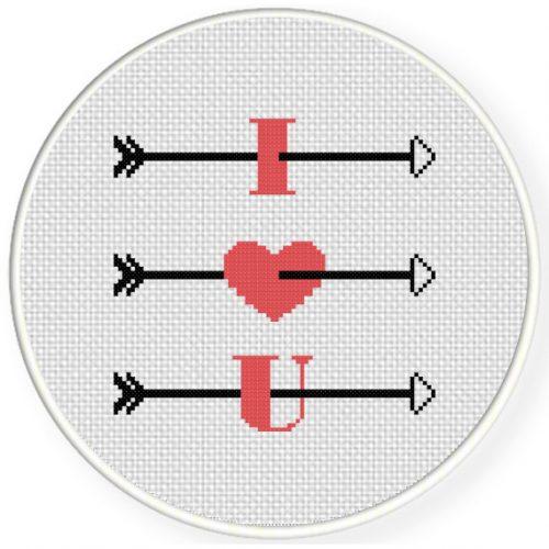 Love Arrows Cross Stitch Illustration
