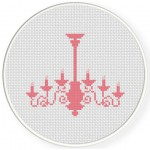 Pink Chandelier Cross Stitch Illustration