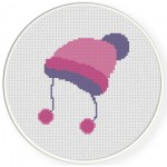 Pompom Bonnet Cross Stitch Illustration