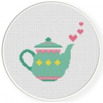 Pretty Teapot Cross Stitch Illustration