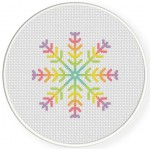 Rainbow SnowFlake Cross Stitch Illustration