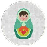 Russian Cute Doll Cross Stitch Illustration