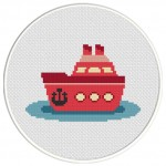 Ship Cross Stitch Illustration