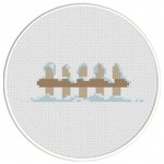 Snowy Fence Cross Stitch Illustration