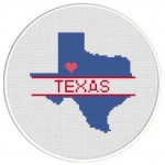 Texas Love Cross Stitch Illustration