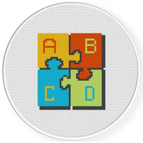 ABCD Cross Stitch Illustration
