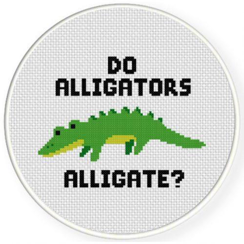 Alligators Alligate Cross Stitch Illustration