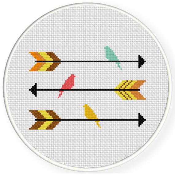 Arrows And Birds Cross Stitch Pattern