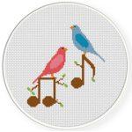 Birds And Notes Cross Stitch Illustration