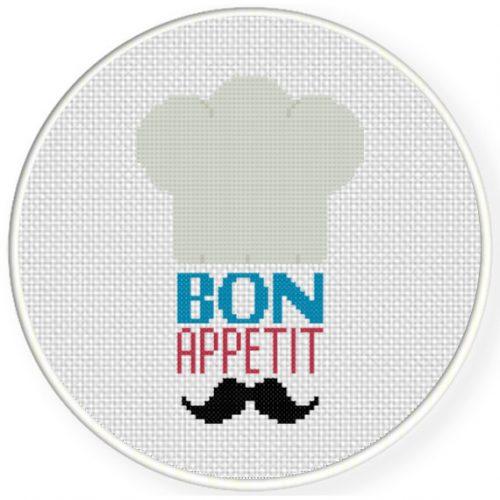 Bon Appetit Chef Cross Stitch Illustration