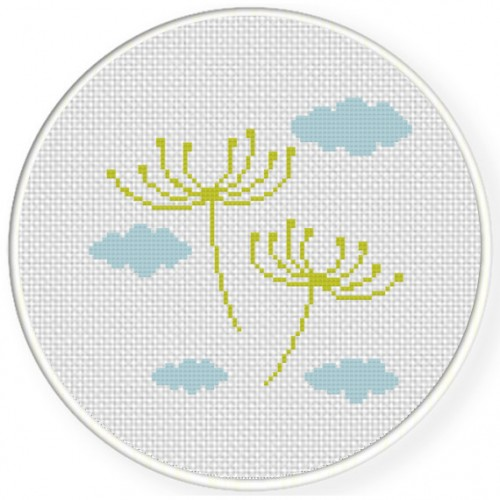 Dandelions With Clouds Cross Stitch Illustration