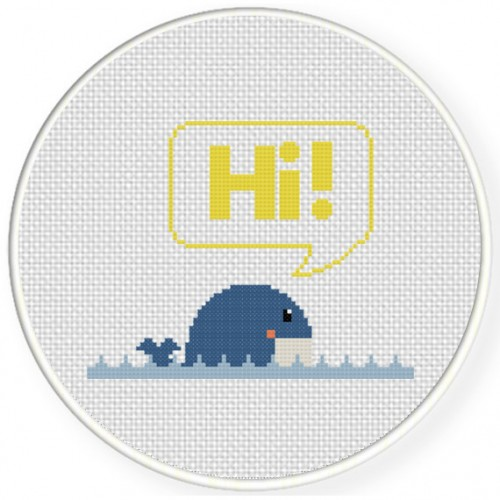 Friendly Whale Cross Stitch Illustration