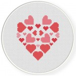 Full Of Hearts Cross Stitch Illustration