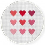 Heart Shades Cross Stitch Illustration