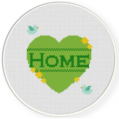 Home Heart Cross Stitch Illustration
