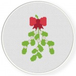 Mistletoe With Ribbon Cross Stitch Illustration