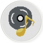 Music Disk & Note Cross Stitch Illustration