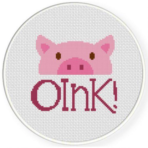 Oink Cross Stitch Illustration
