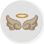 Pretty Halo And Wings Cross Stitch Illustration