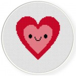 Pretty Happy Heart Cross Stitch Illustration