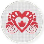 Pretty Heart Damask Cross Stitch Illustration