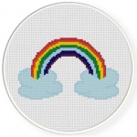 Rainbow With Clouds Cross Stitch Illustration