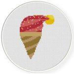Santa Hat Ice Cream Cross Stitch Illustration
