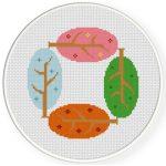 Season Trees Cross Stitch Illustration