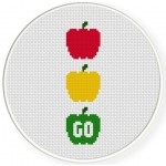 Traffic Light Peppers Cross Stitch Illustration