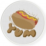 Yummy Hotdog Cross Stitch Illustration