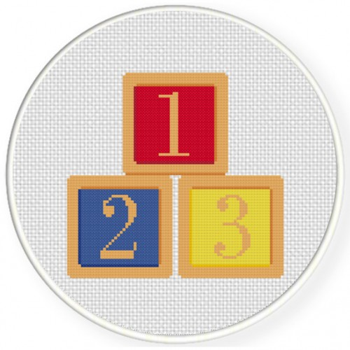 1 2 3 Blocks Cross Stitch Illustration
