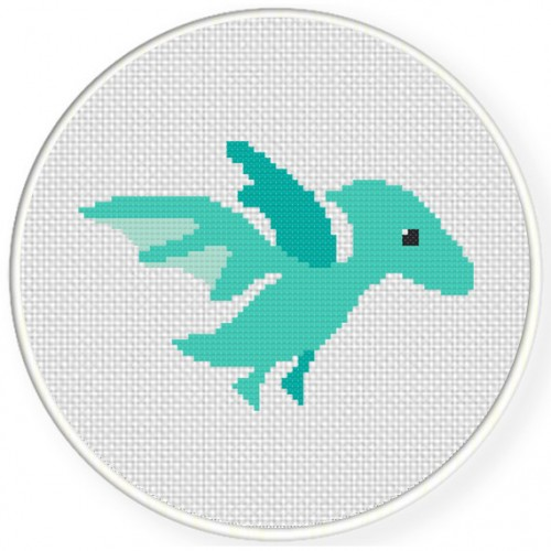 Baby Pterodactyl Cross Stitch Illustration