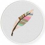 Colorful Feather Cross Stitch Illustration