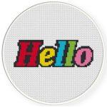 Colorful Hello Cross Stitch Illustration