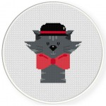 Gentleman Cat Cross Stitch Illustration