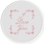 I Love You With Border Cross Stitch Illustration