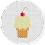 Ice Cream With Cherry Cross Stitch Illustration