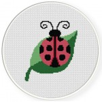 Ladybug On The Leaf Cross Stitch Illustration
