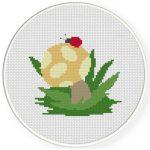 Ladybug On The Mushroom Cross Stitch Illustration