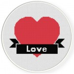Love With Ribbon Cross Stitch Illustration
