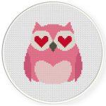 Owl In Love Cross Stitch Illustration