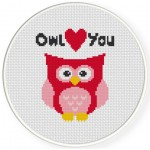 Owl Love You Cross Stitch Illustration