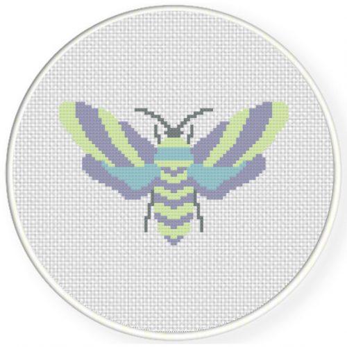 Pastel Moth Cross Stitch Illustration
