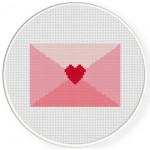 Pink Love Letter Cross Stitch Illustration