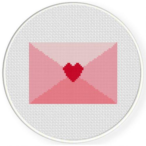 Pink Love Letter Cross Stitch Illustration
