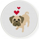 Pug Love Cross Stitch Illustration